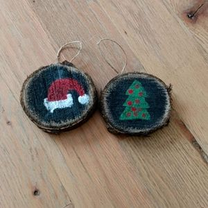 Santa Hat and Tree Wooden Ornaments